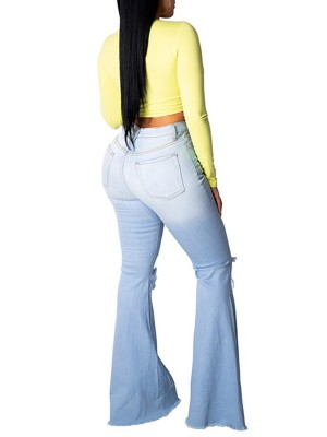 Characteristic Light Blue Flare Destroyed Jeans With Pockets Leisure