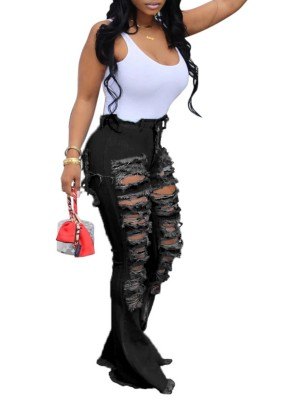 Upscale Black Broken Hole High Rise Wide Leg Jeans Girls Fashion