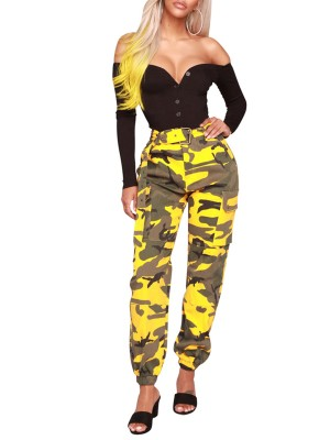 Camouflage Print Pants With Waist Belt Comfort Fabric