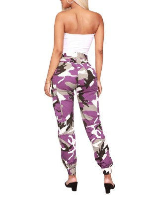 Camo Joggers Cargo Pants With Pockets High Elasticity