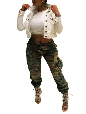 Camo Pants Matching Belt High Waist Superior Quality