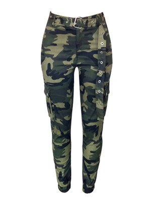 Charming Cargo Camouflage Pants Matching Belt For Women