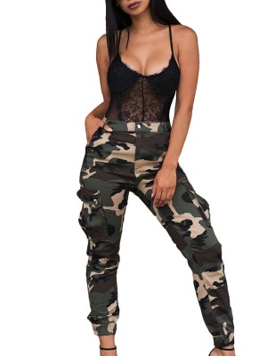 Soft-Touch Camouflage High Waisted Jogger Pants Breath