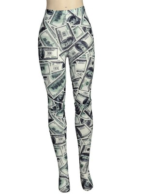 Black Wide Waistband Dollar Pattern Leggings Breathable