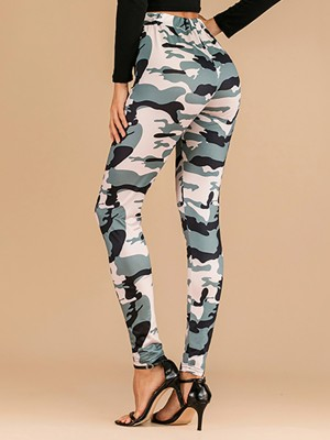 Smooth Ankle Length Pants Camouflage Print Quality Assured