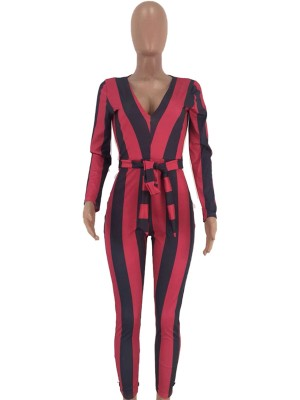 Zealous Red Jumpsuit Plunge Neck Tie Stripe Paint At Great Prices‎