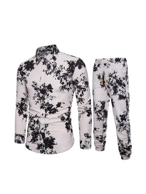 Soft Big Size Men Printed Shirt Pants Suit Natural Comfortable