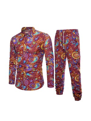 Endearing Ethnic Print Male Shirt Set Plus Size Regular Fit