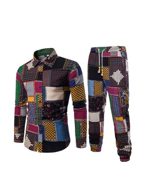 Tantalizing Patchwork Male Blouse Pants Queen Size Fashion Trend