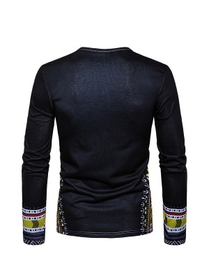 Enthralling Black Dashiki Men Full Sleeve Round Neck Top Clothes Wholesale