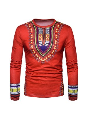 Colorful Red Round Collar Tribal Printed Men Shirt Unique Fashion