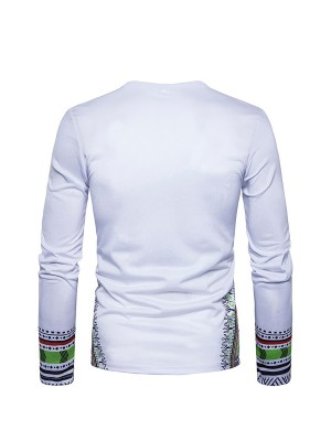 Bewildering  White Long-Sleeved Male Blouse African Style Elasticity
