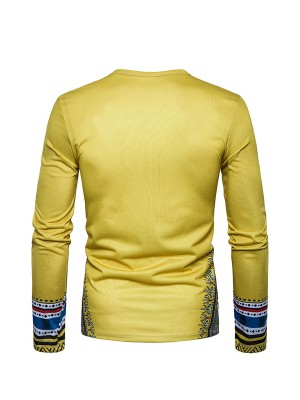 Delightful Yellow African Printing Male Top Full Sleeve Breathable