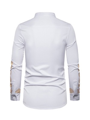 Invigorative White Full Sleeve Male Shirt Standing Collar Amazing Look