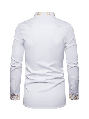 Casual White Gold Stamping Men Full Sleeve Shirt Casual Comfort