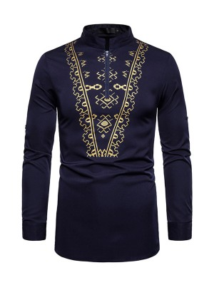 Exquisitely Purplish Blue African Print Stand Collar Man Shirt
