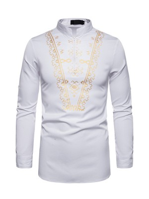 Individualized White Standing Neck African Men Zipper Shirt