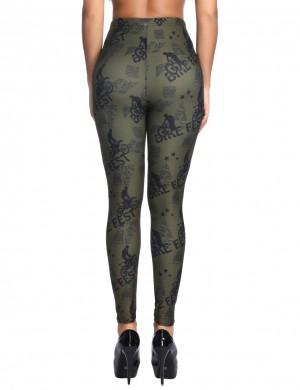 Perfectly Army Green High Elastic Tights Sports Pattern