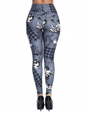 Splendid Gray Graffiti Print Legging Ankle Length