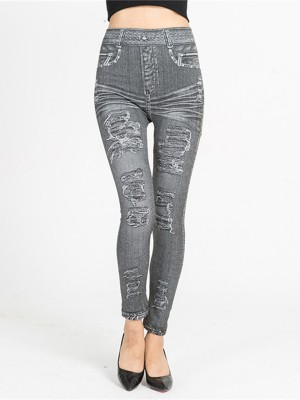Snazzy Imitation Denim Leggings Queen Size Fashion Style