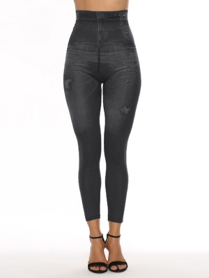 Exceptional High Waist Denim Paint 7/8 Leggings Quick Drying