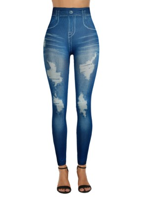 Entrancing Denim Ripped Paint 7/8 Length Legging Feminine Charm