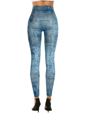 Poolside 3D Denim Printed Leggings High Waist Best Materials