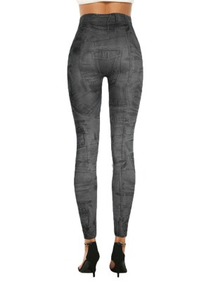 Effortless Denim Paint 7/8 Leggings High Rise Luscious Curvy