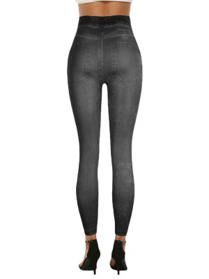 Sexy Ladies High Waist 7/8 Leggings Fake Jeans Elastic Material