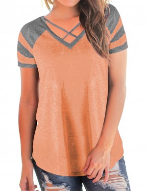 Fetching Orange Crossover Straps V Neck Shirts High Back Chic Online