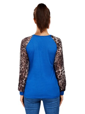 Exceptional Blue Full Sleeve Patchwork Top Plus Size Women's Tops