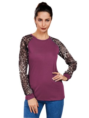 Alluring Fuchsia Crew Neck Leopard Shirt Queen Size Evening Romance