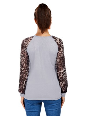 Young Lady White Leopard Print Shirt Big Size Crew Neck Regular Fit