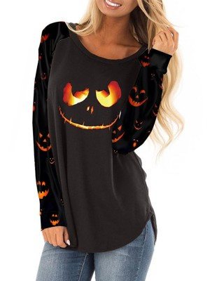 Striking Black Halloween Long-Sleeved Print Shirt Natural Women Fashion