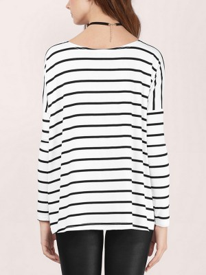 Woman White Stripe Long Sleeves Shirt Boat Neck Fashion Design