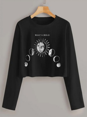 National Style Black Sun Moon Pattern Long-Sleeved Shirt Outfit