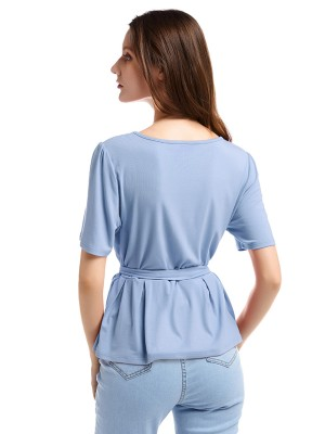 Delightful Blue Short Sleeve Ruffle Top Solid Color Casual