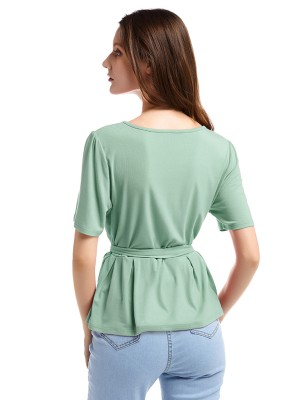 Slimming Green Ruffled Round Collar Top Waist Tie Comfort Fabric