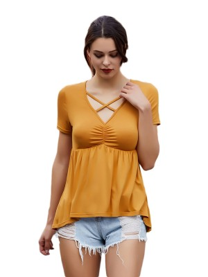 Picturesque Yellow Lace-Up V Neck T-Shirt Short Sleeves Cool Fashion