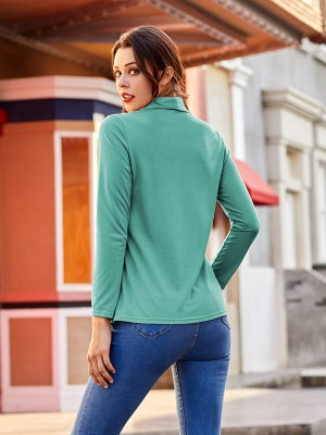 Svelte Style Green Button Full Sleeve Shirt Cross Hem Female Elegance