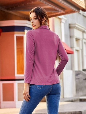 Glamorous Purple Wrap Shirt Turndown Neck Irregular Hem Elegance