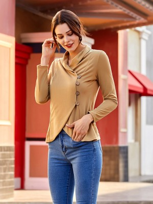 Relaxed Yellow Oblique Placket Irregular Hem Shirt Casual Women
