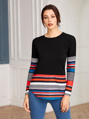 Dreamy Black Stripe Colorblock Shirt Curved Hem Lady Clothing