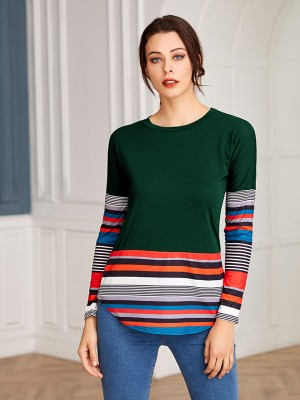 Svelte Style Green Round Neck Stripe Shirt Long Sleeve Natural Fit