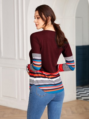 Inviting Purplish Red Patchwork Full Sleeve Stripe Shirt Fashion Style