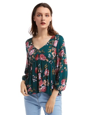 Ultimate Fashion Army Green Flower Print Elastic Cuff Shirt V-Neck
