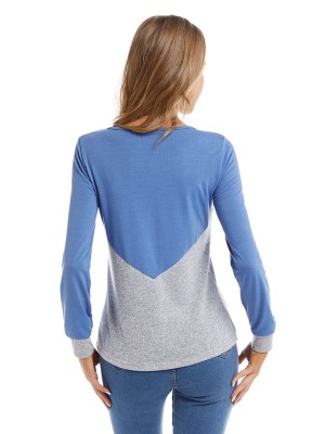 Innovative Blue Large Size Top Full Sleeve Patchwork Comfort