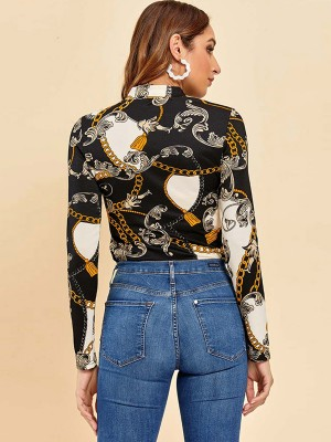 Fashionable Mockneck Top Chain Print Full Sleeve Womens