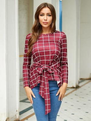 Appealing Wine Red Full Sleeve Plaid Top Dovetail Hem