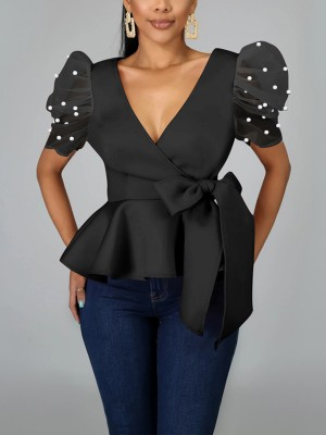 Versatile Black Puff Sleeve Plunge Collar Shirt Chic Online